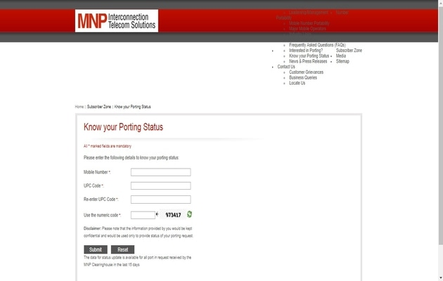 mnp Status Website