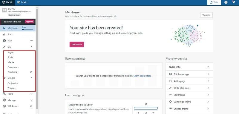 free wordpress blog dashboard