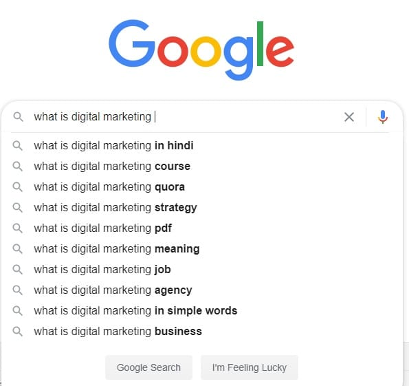 keyword research by google auto suggestion