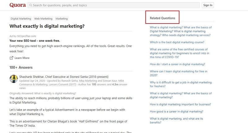 keyword research by quora