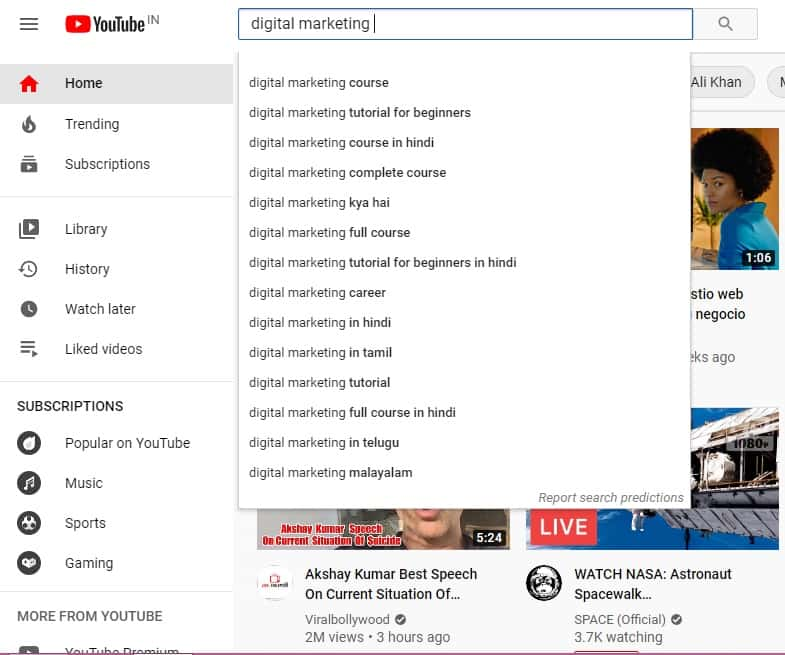 keyword research by youtube auto suggestion
